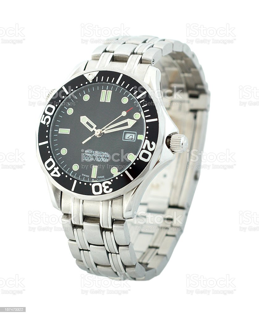 Black and silver men's wristwatch on a white background stock photo