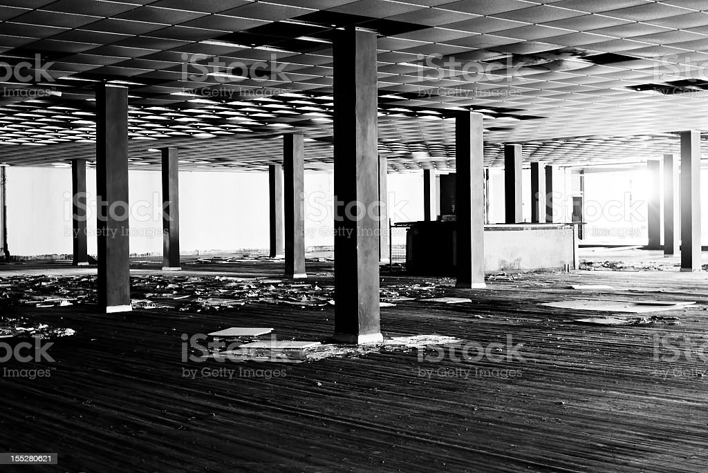 Black and white abandoned building royalty-free stock photo