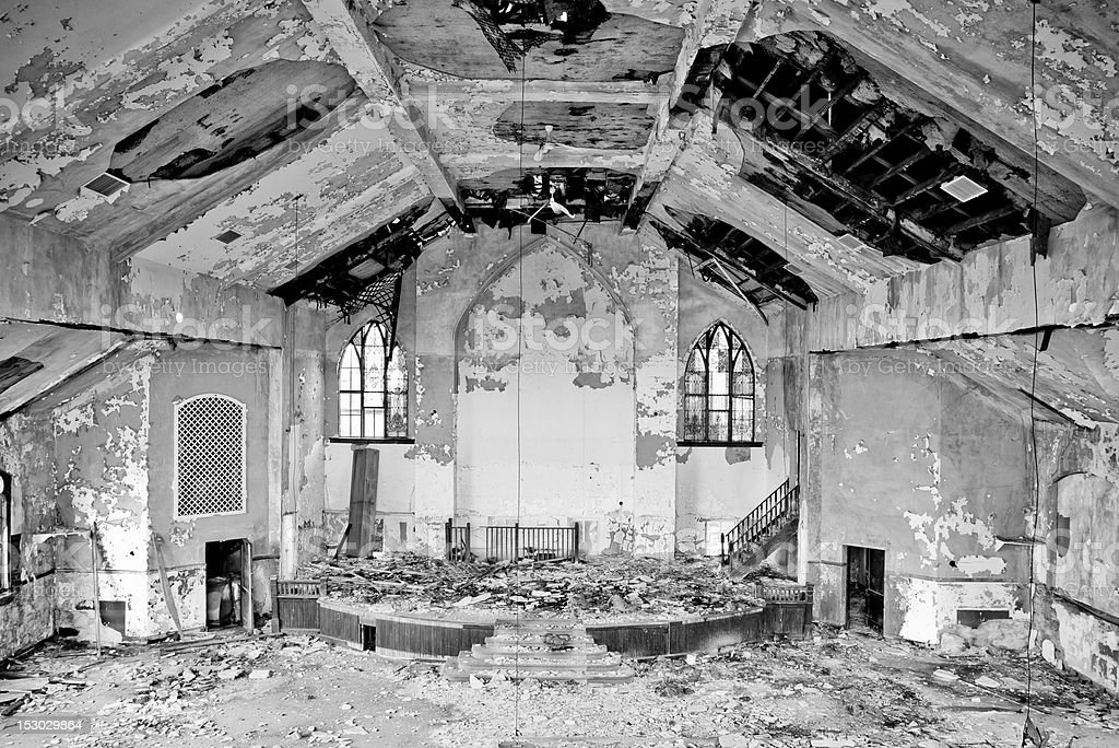 Black and White Abandoned Church royalty-free stock photo