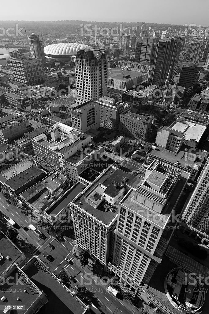 Black and white aerial of Vancouver, Canada royalty-free stock photo