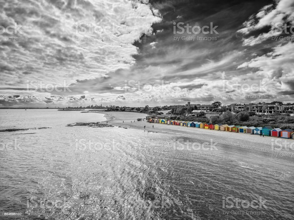 Black and white aerial view of Brighton Beach bathing huts on a bright sunny day. Melbourne, Victoria, Australia stock photo