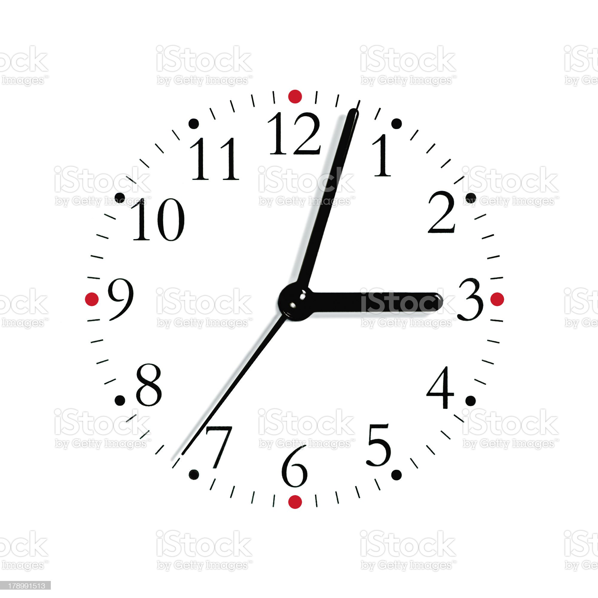Black and white analogue clock face dial, isolated macro royalty-free stock photo