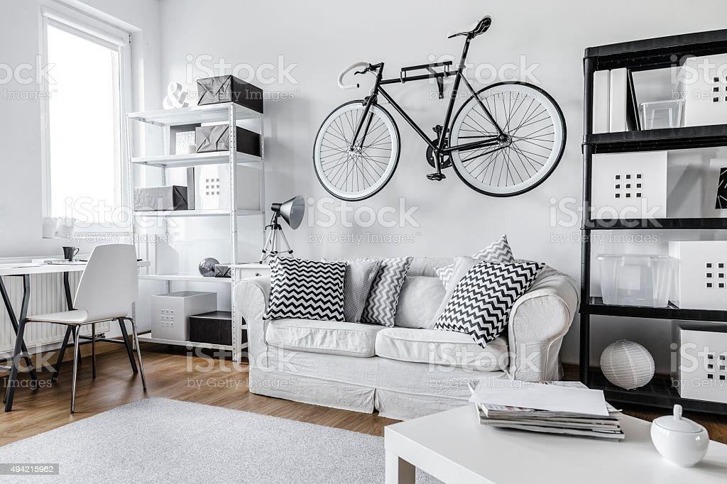 Black and white apartment stock photo
