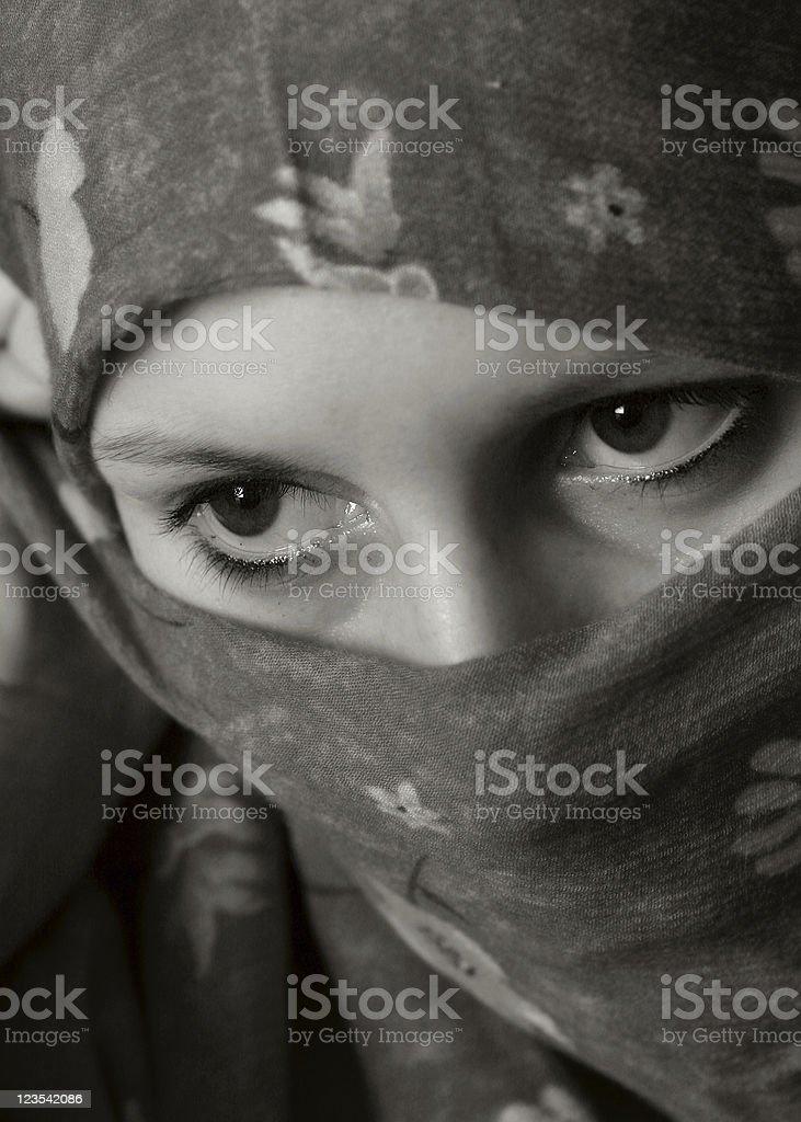 Black and white Arab woman royalty-free stock photo