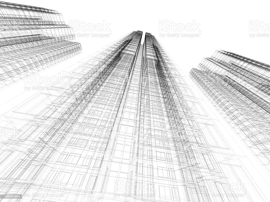 Architecture Blueprints Skyscraper black and white architecture skyscraper blueprint stock photo
