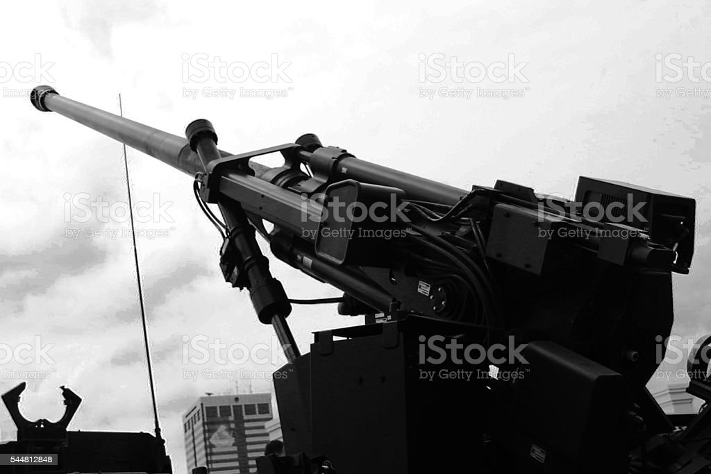 Black and white artillery Cannon stock photo