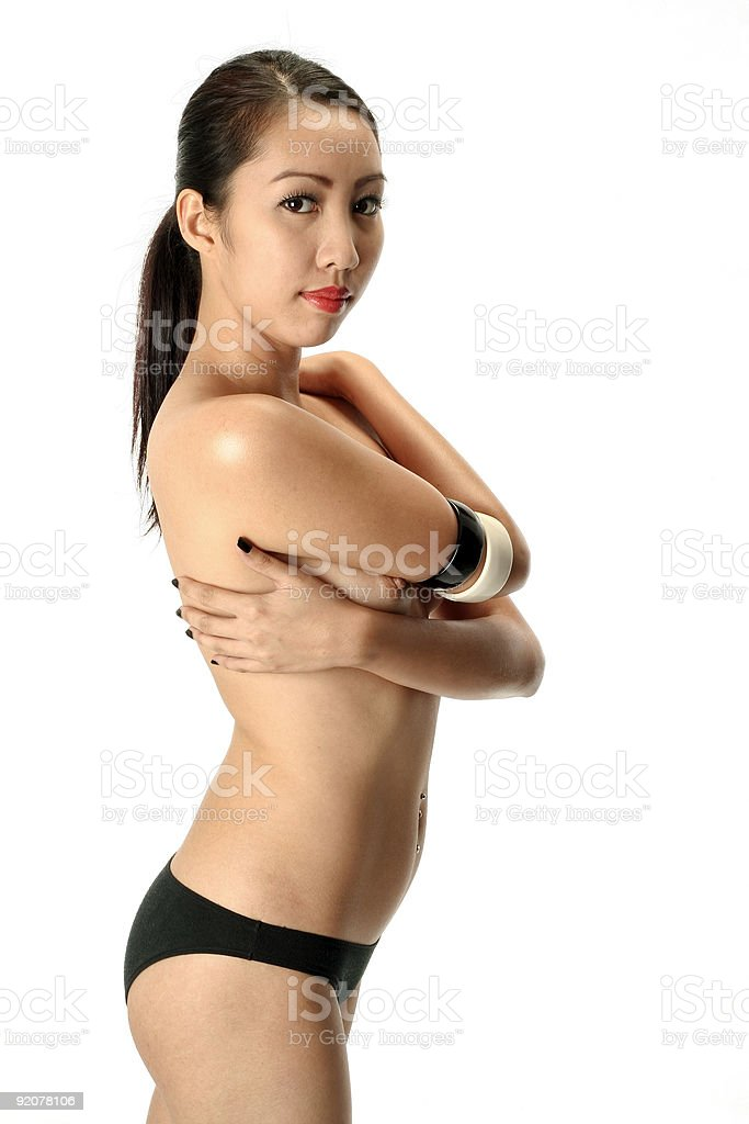 black and white asian female model in underwear royalty-free stock photo