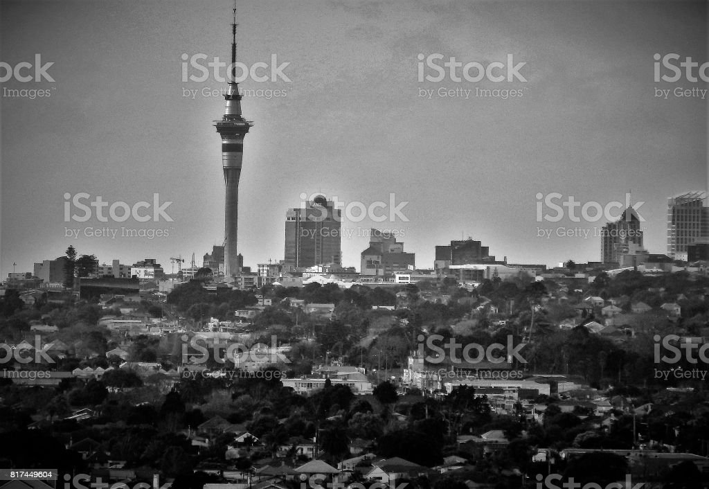 Black and White Auckland cityscape stock photo