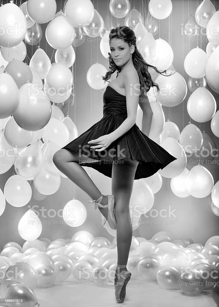 black and white ballerina royalty-free stock photo