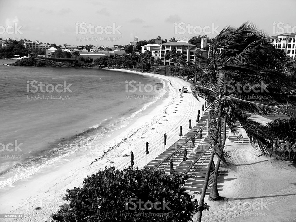 black and white beachfront stock photo