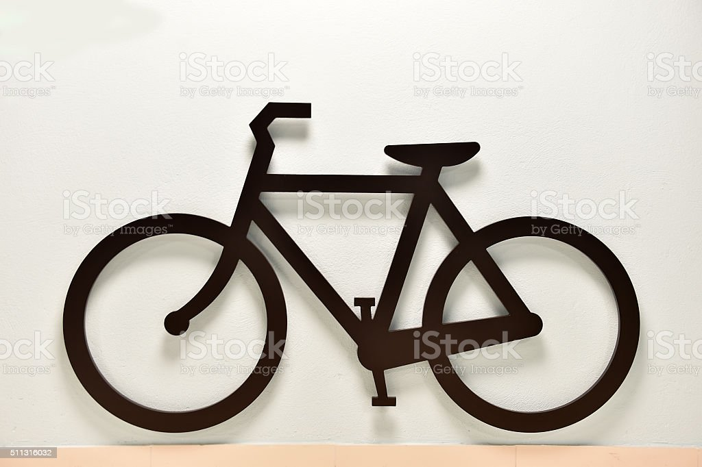 Black and white bicycle sign stock photo