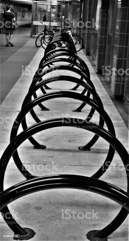 Black and White Bike Racks stock photo