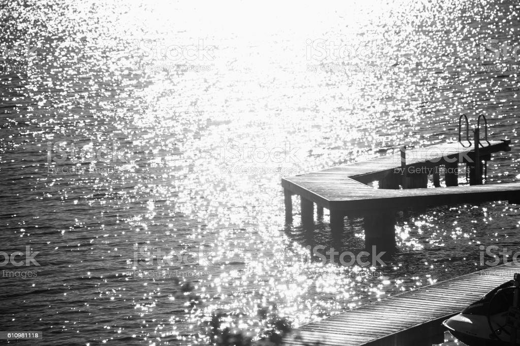 Black and white bokeh dock stock photo