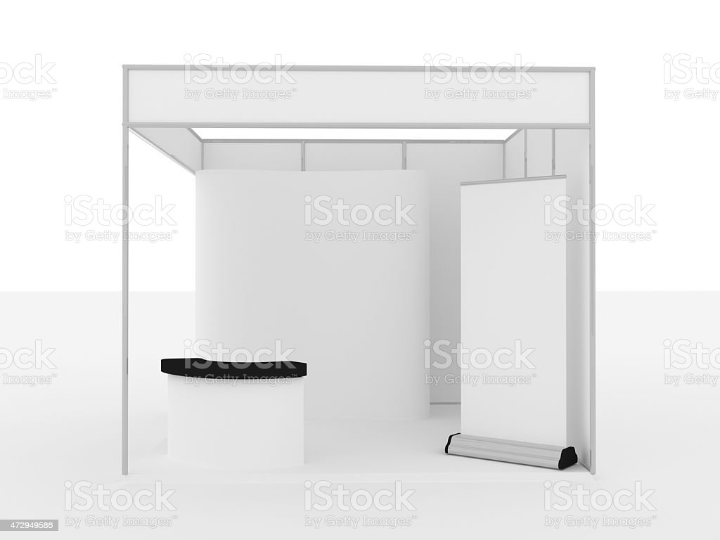 Black and white booth exhibition of counter and walls stock photo