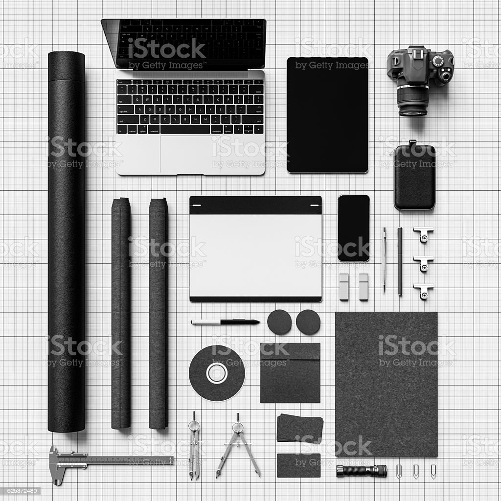 Black and white branding stationery mockup scene. 3D illustration stock photo