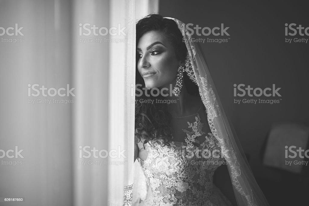 Black and white bride stock photo