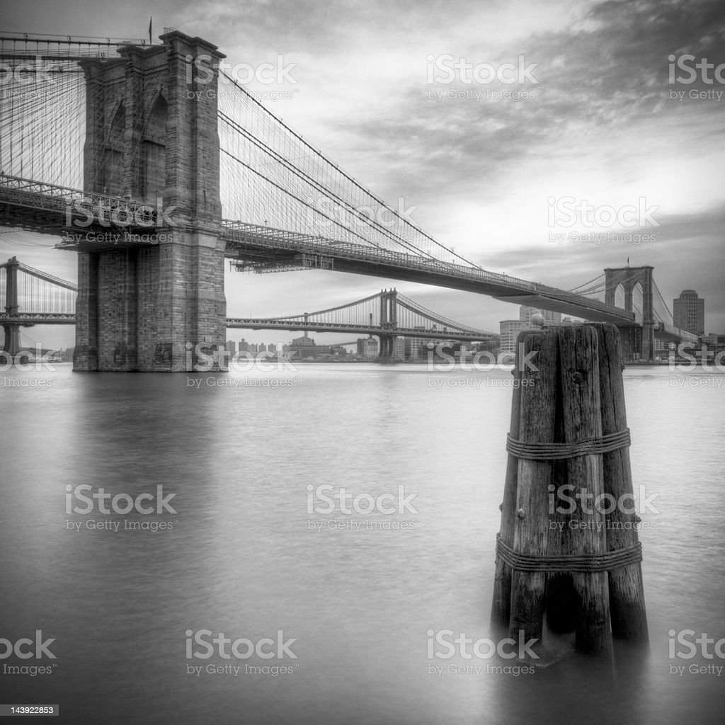 Black and white Brooklyn bridge royalty-free stock photo