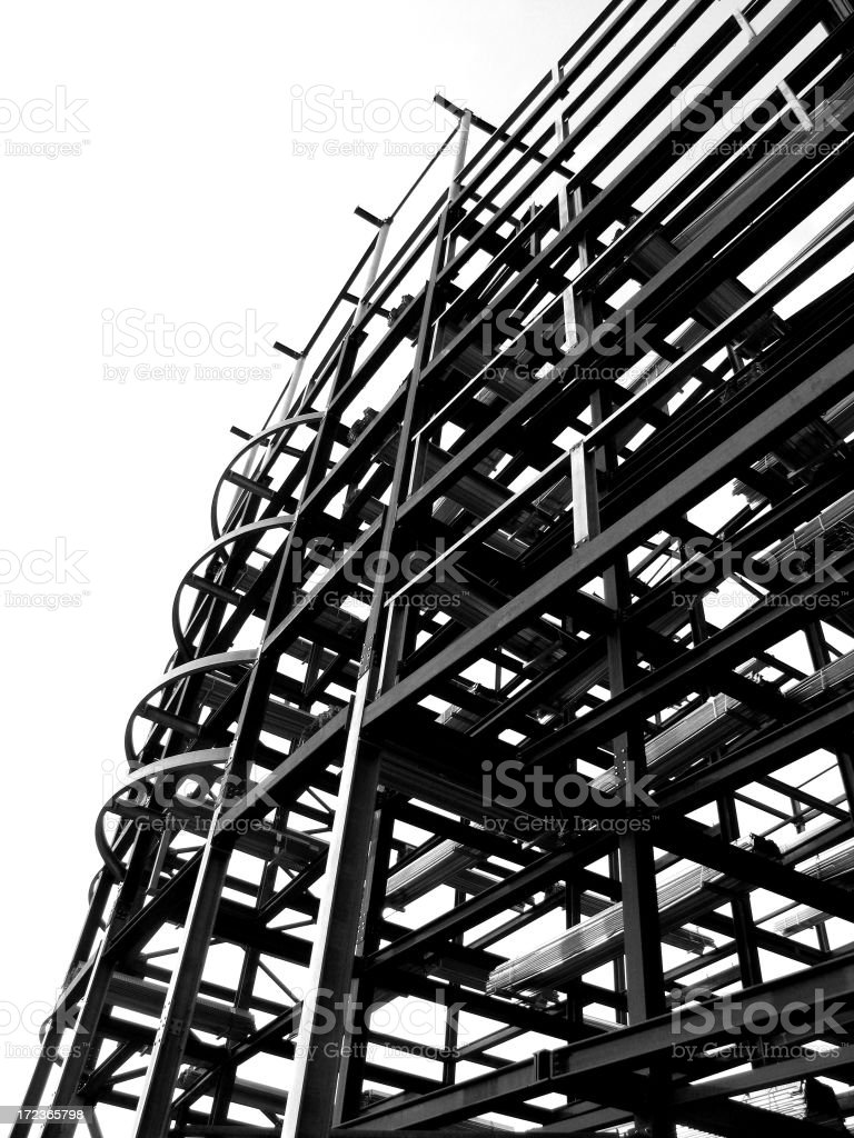 Black and white building under construction  stock photo