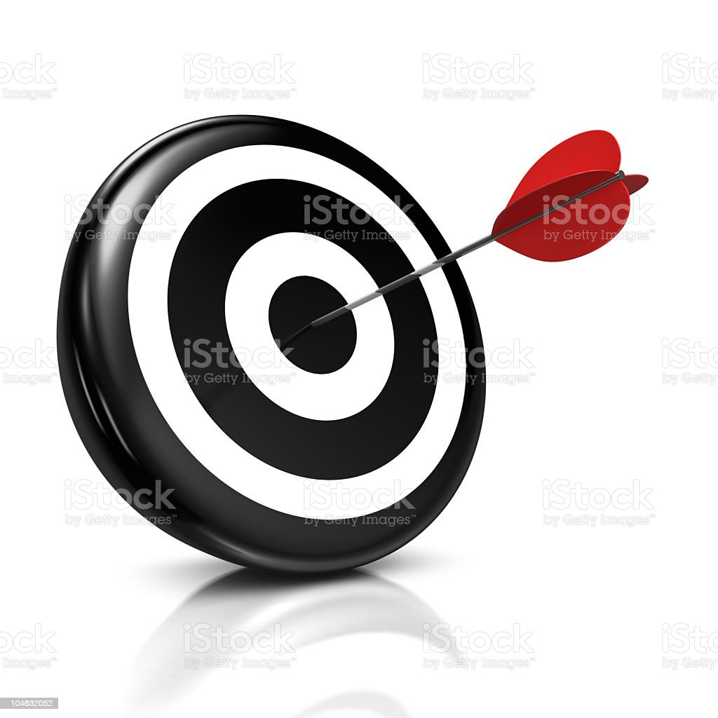 Black and white bulls eye hit with red dart royalty-free stock photo