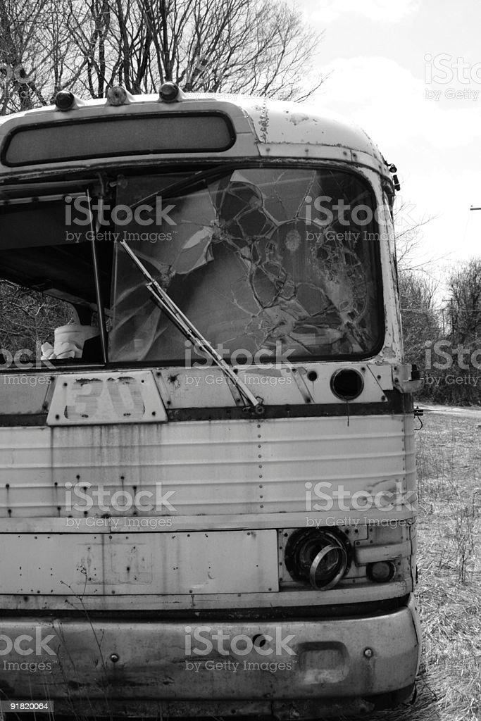 Black and White Bus royalty-free stock photo