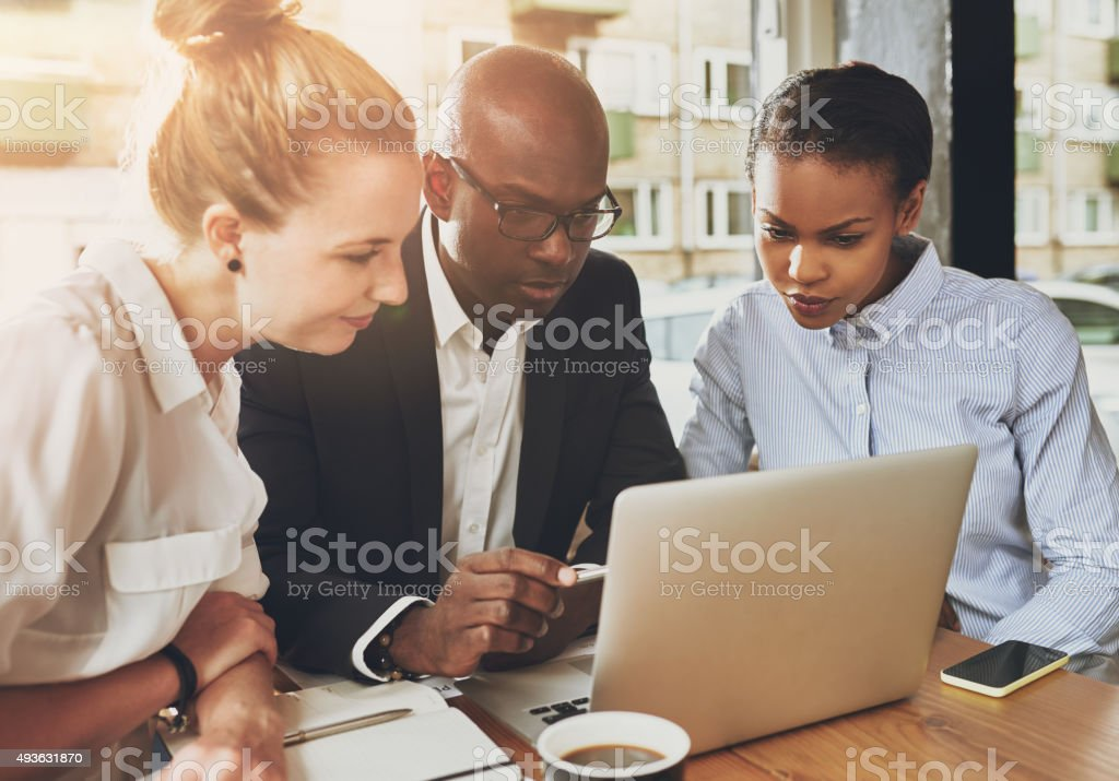 Black and white business people working stock photo