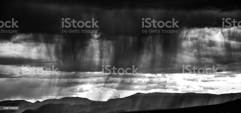 Black and white capture of a stormy sky stock photo