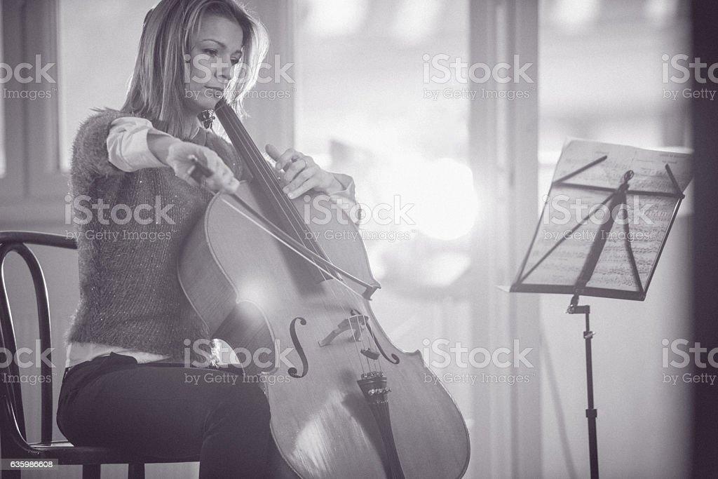 Black and white cellist stock photo