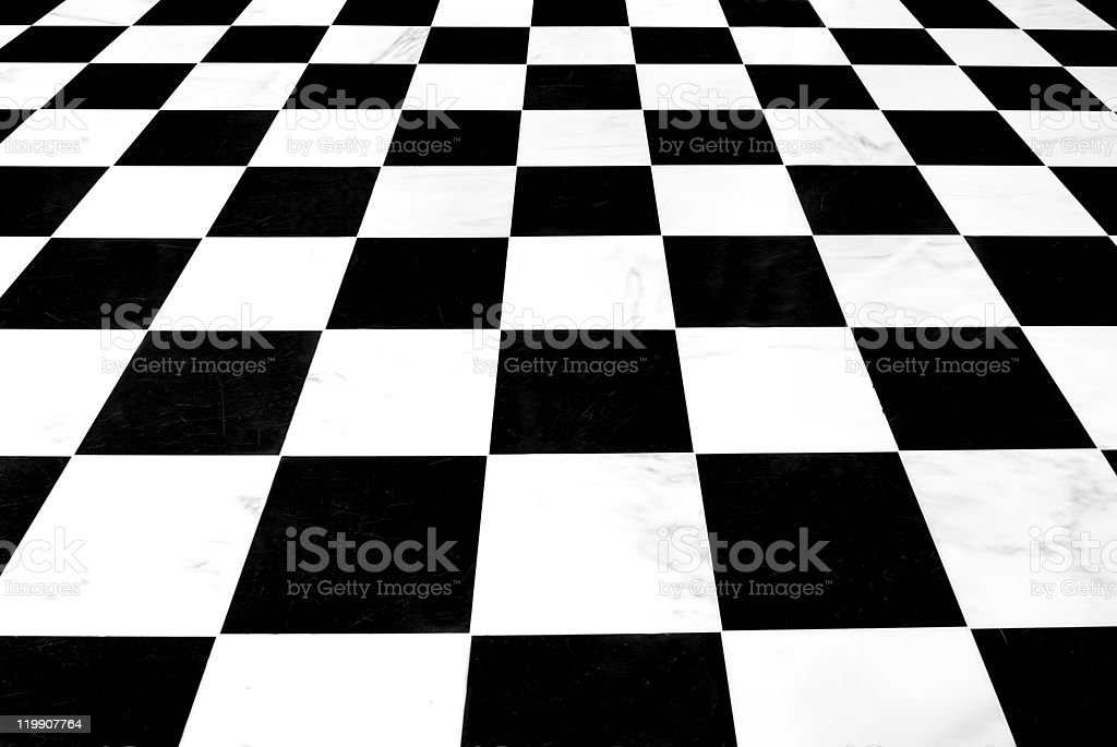 Black and white checkered background with diminishing perspective. stock photo