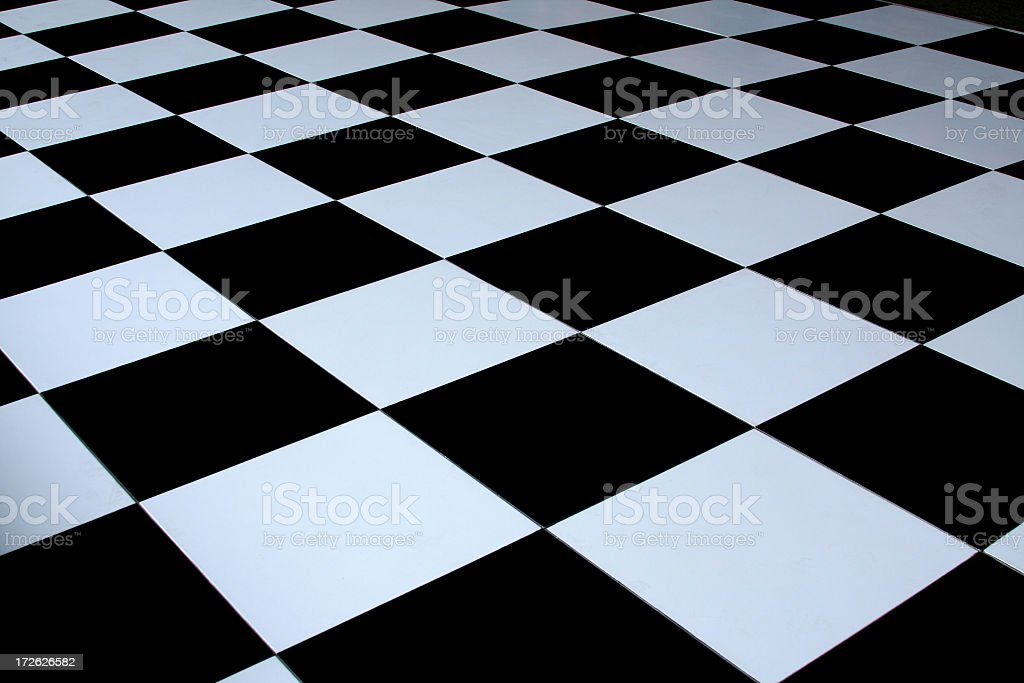 Black and white checkered dance floor stock photo
