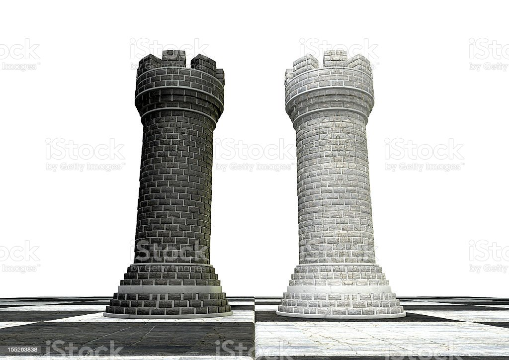 Black And White Chess Castles Square Off royalty-free stock photo