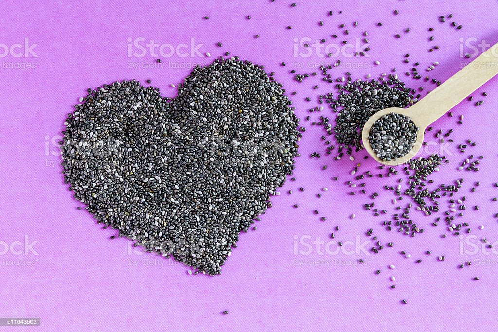 Black and White Chia Seeds stock photo