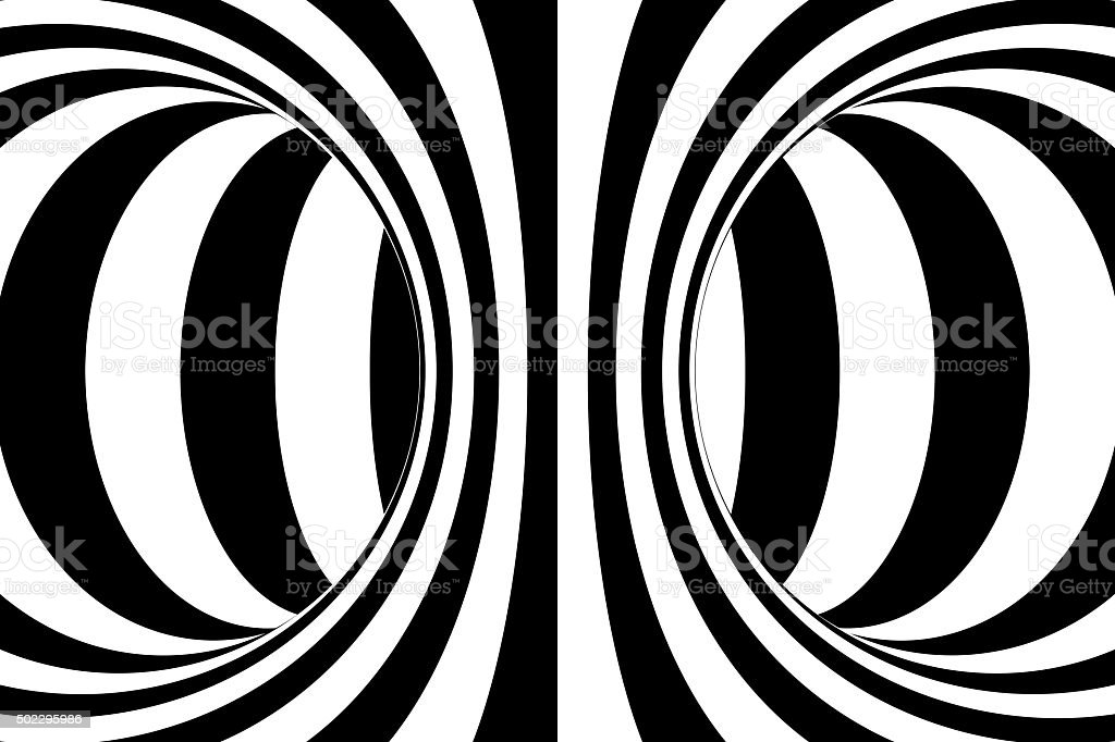Black and White Circles Torus Abstract Background stock photo