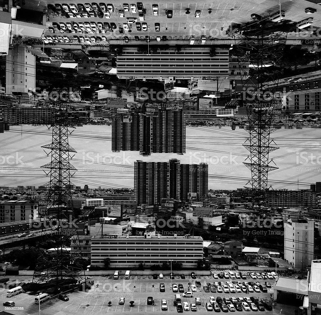 black and white city stock photo
