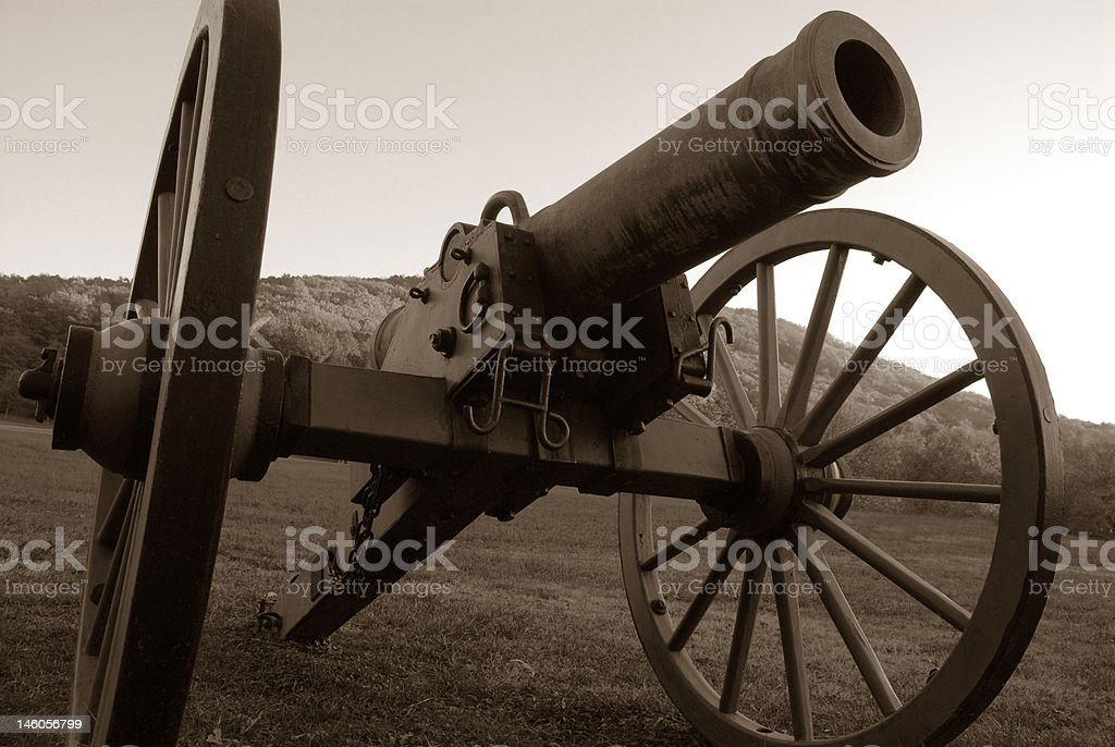 Black and White Civil War Cannon royalty-free stock photo