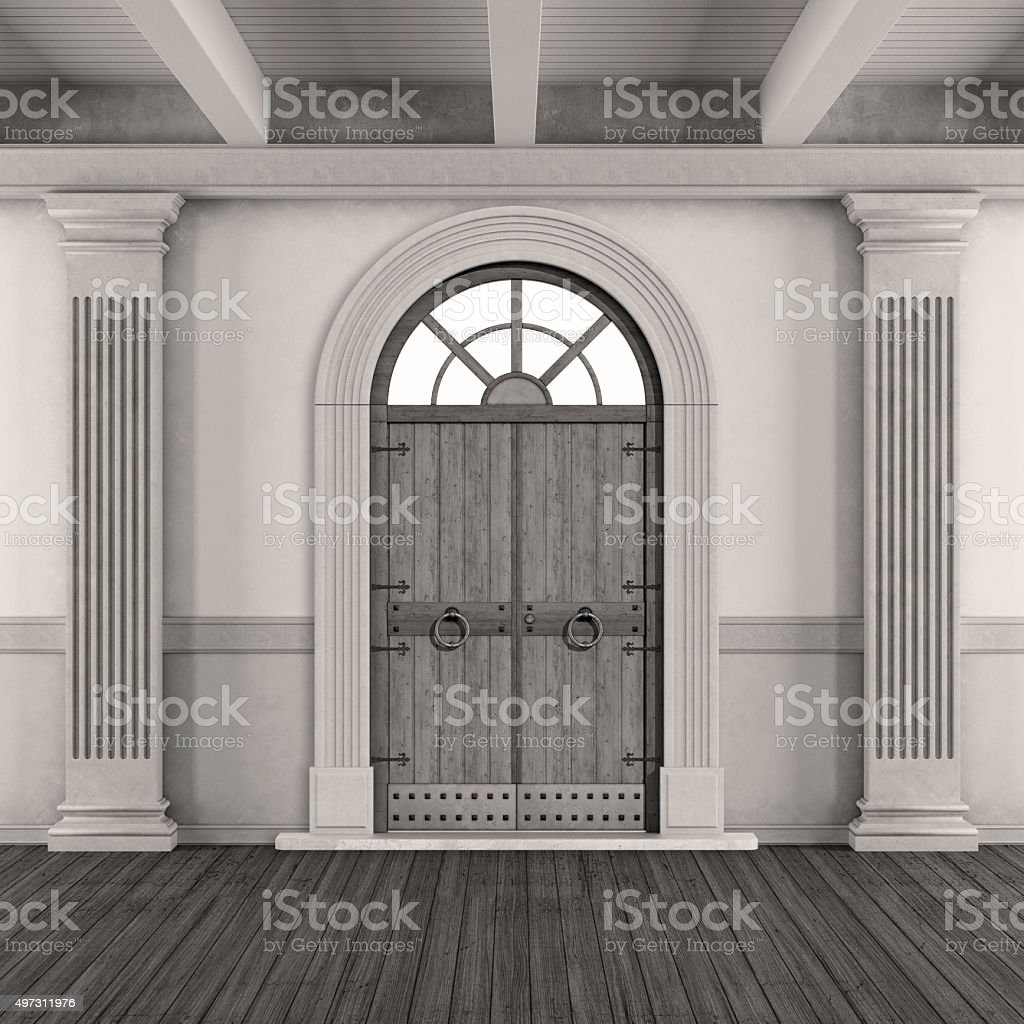 Black and white classic home entrance stock photo