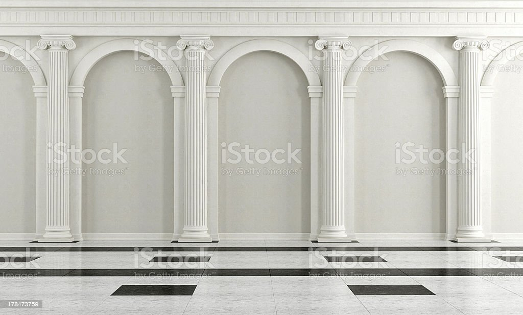 Black and white classic interior stock photo