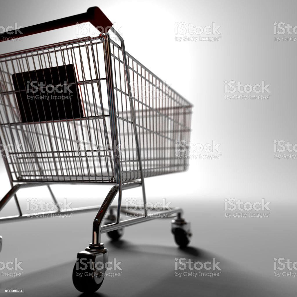 A black and white close up of a shopping cart royalty-free stock photo