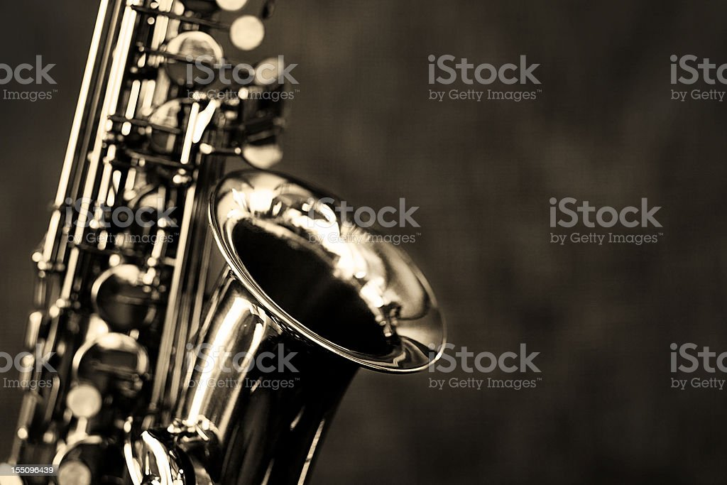 Black and white close up of alto saxophone stock photo