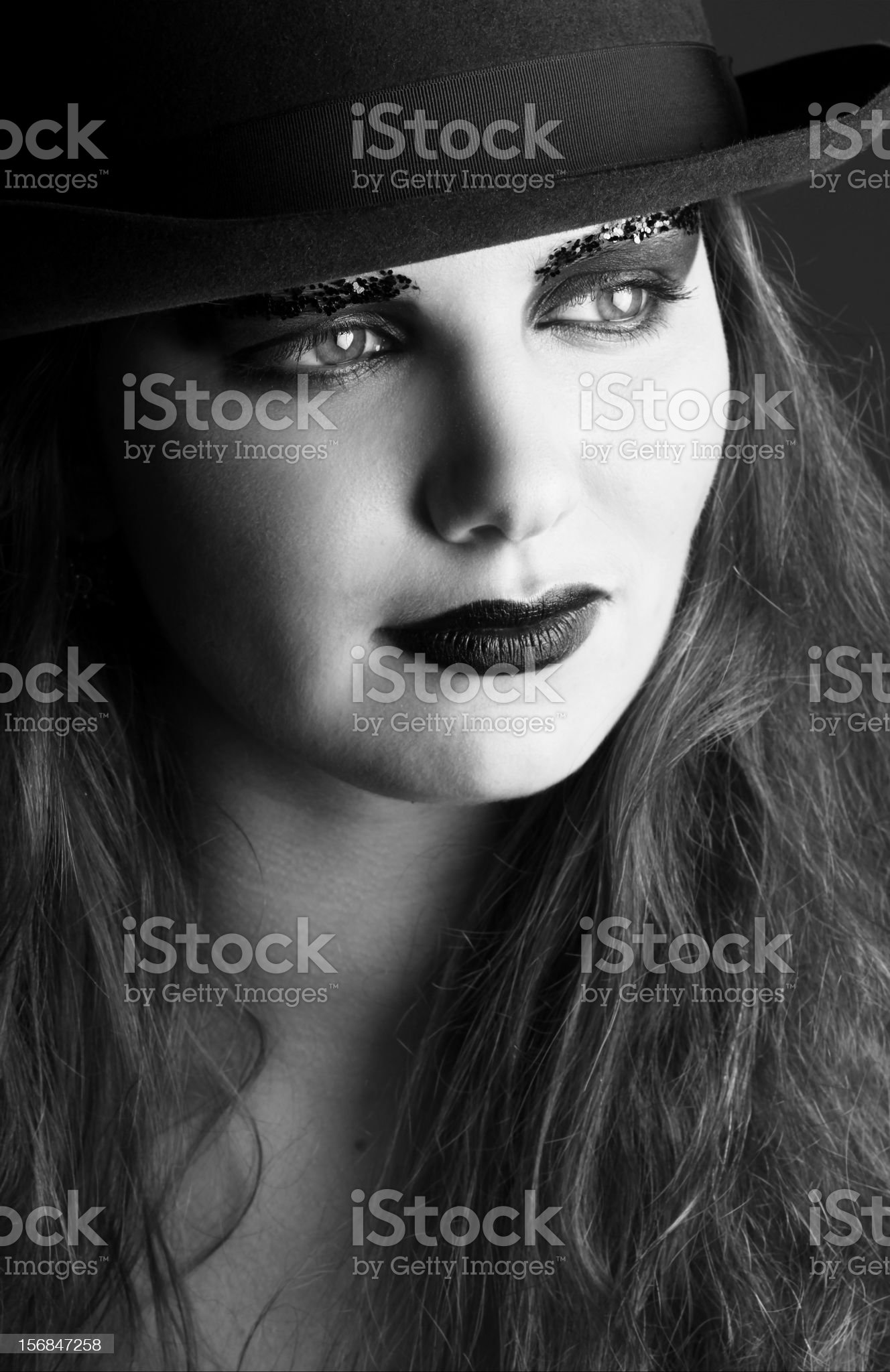 Black and white close up portrait of woman royalty-free stock photo