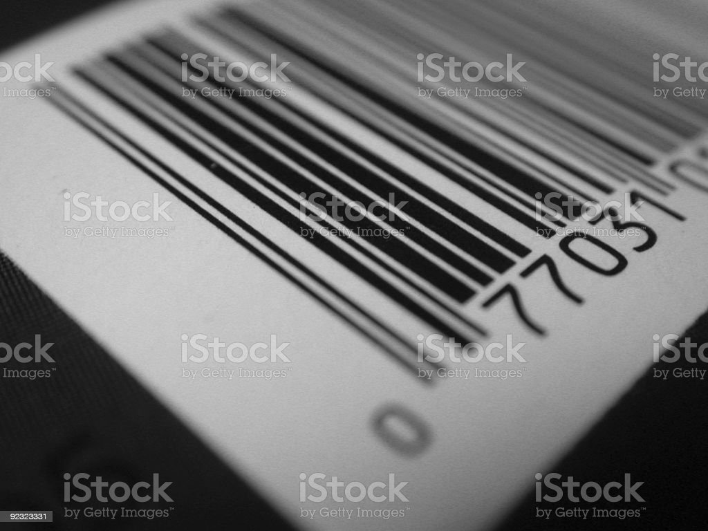 Black and white closeup abstract photo of a barcode royalty-free stock photo