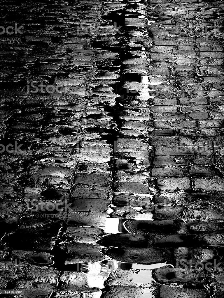 black and white Cobbled Street royalty-free stock photo