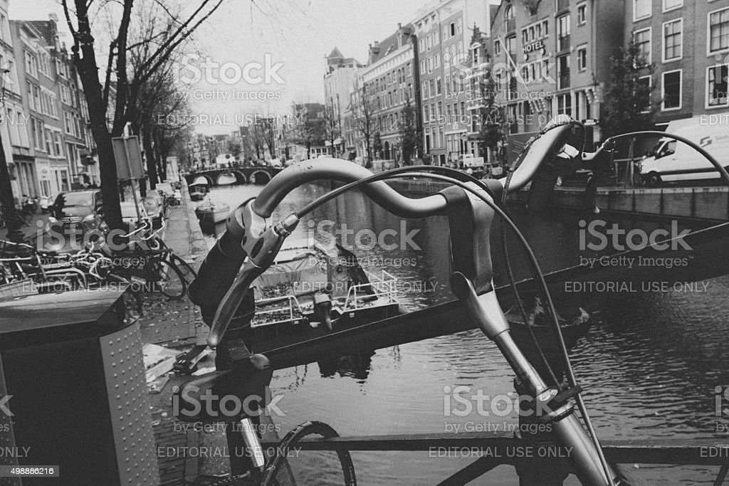 Black and White Composition from the Canals of Amsterdam, Netherlands stock photo