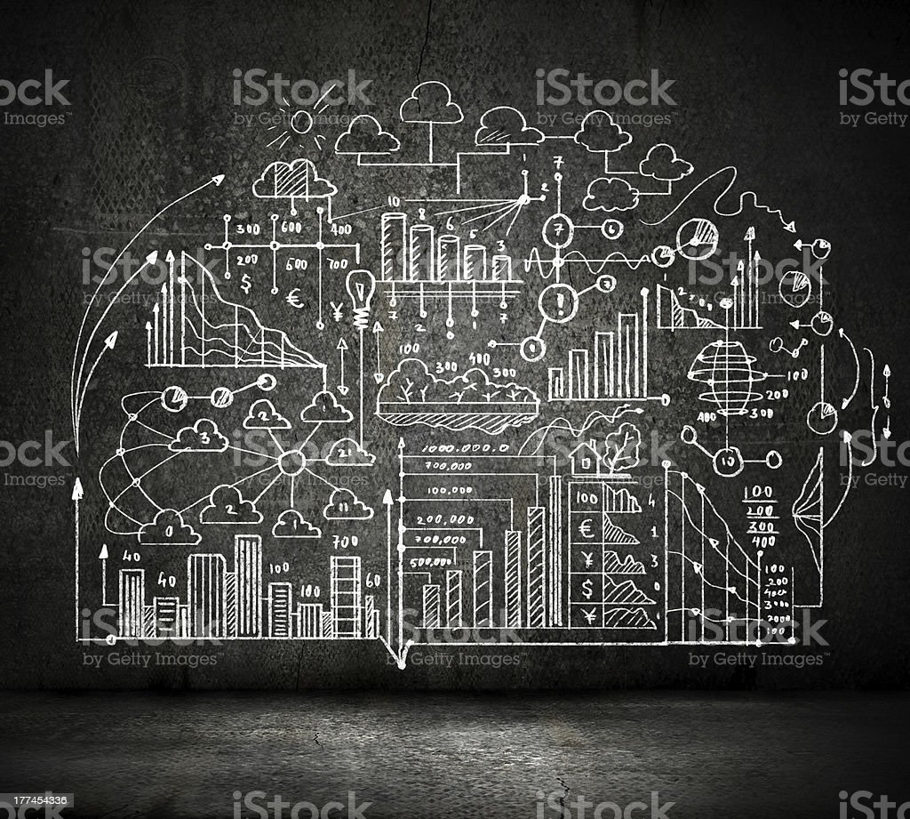 Black and white concept of a business sketch stock photo