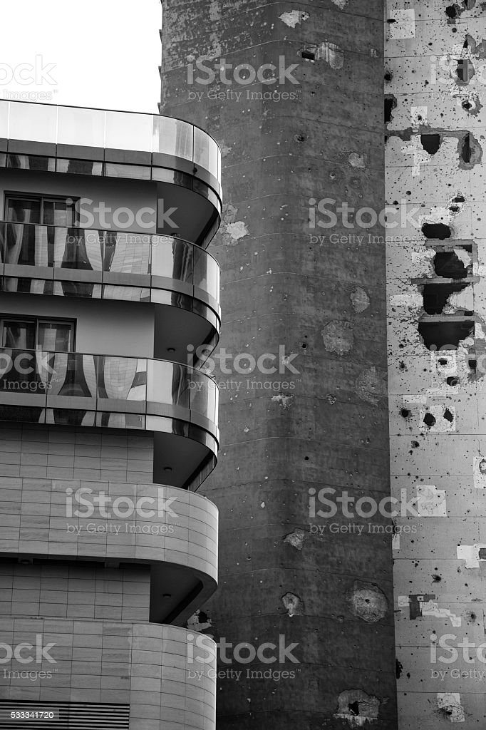 Black and white Construction and destruction stock photo