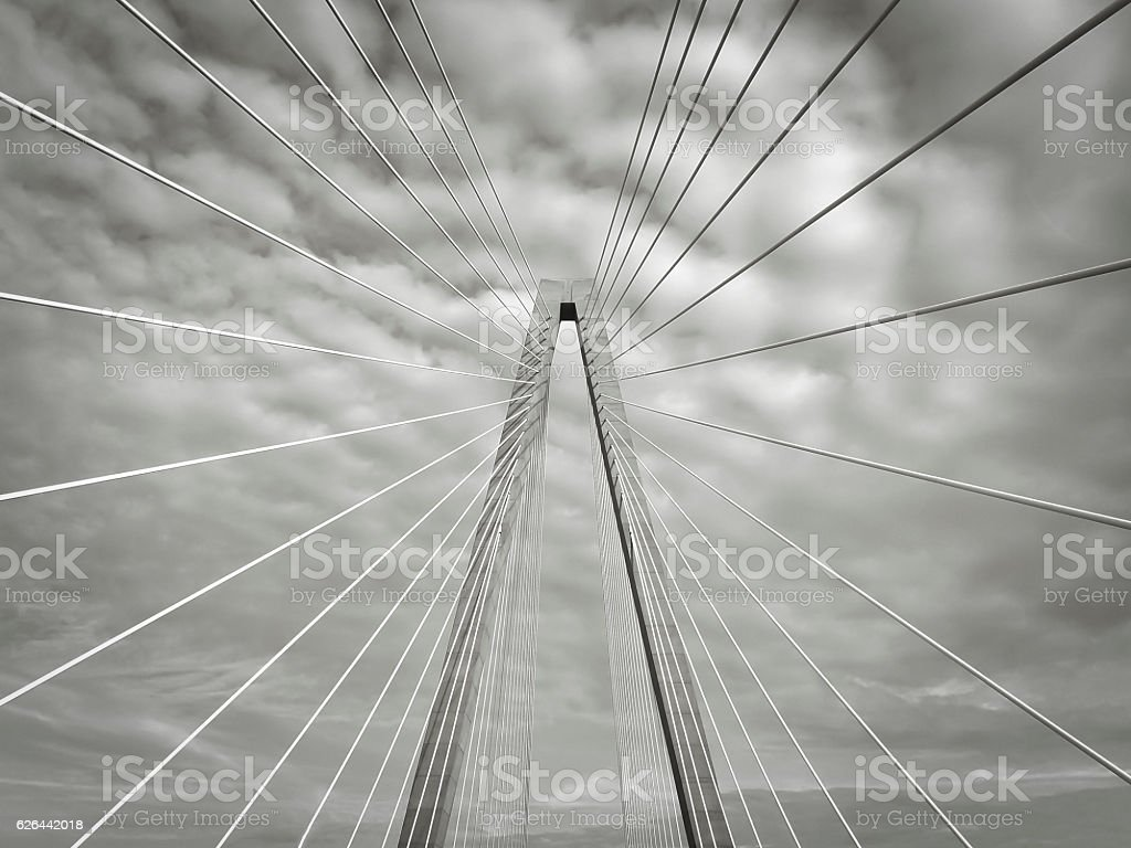 Black And White Cooper River Bridge stock photo