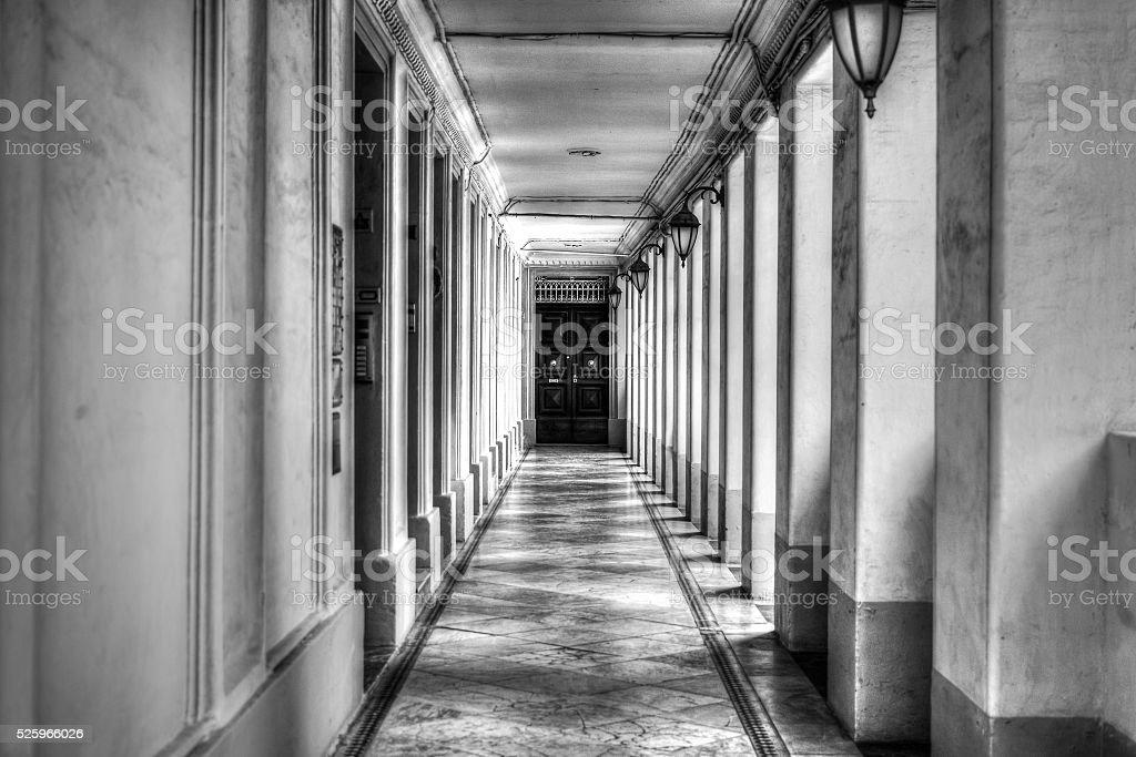 Black and white corridor HDR stock photo