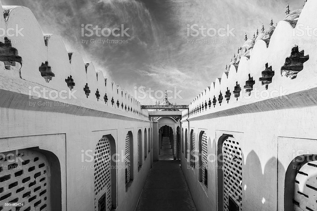 Black and White Corridors of Hawa Mahal Palace (Wind Palace) stock photo