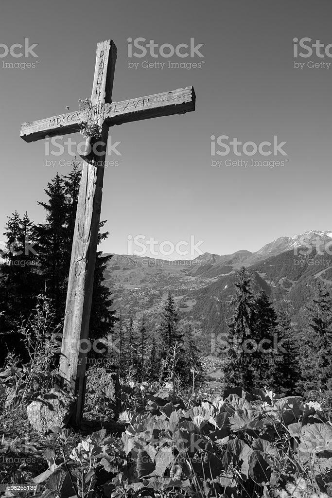 Black and white cross stock photo