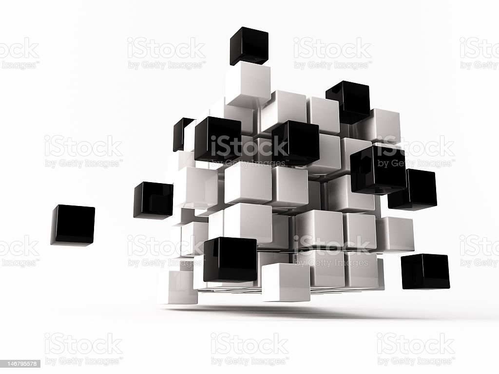 Black and white cube dispelling smaller cubes royalty-free stock photo