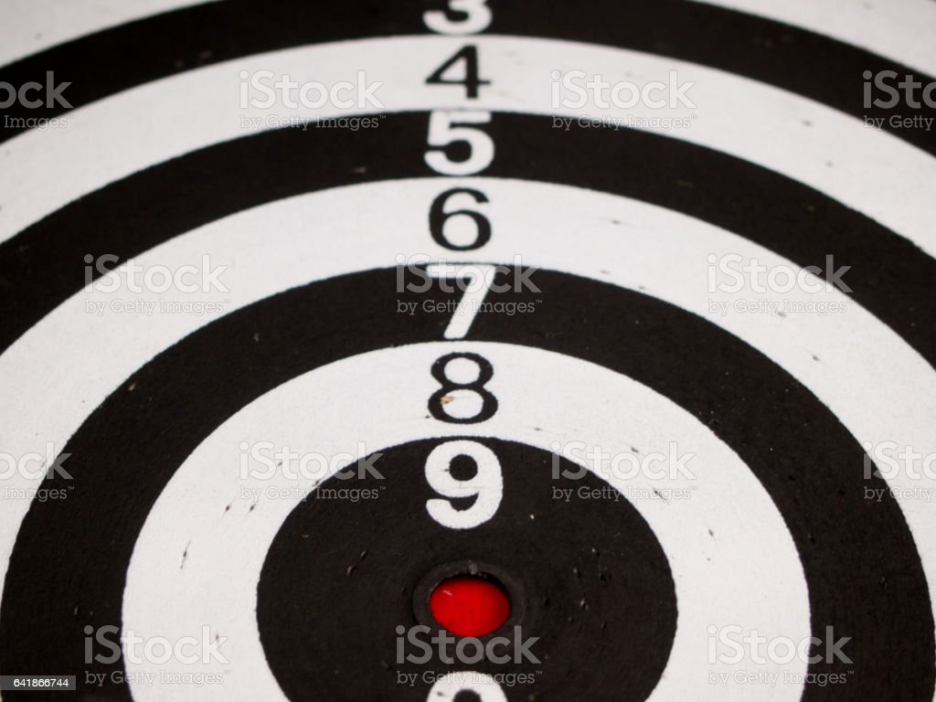 Black and white dart (Concept for target, achievement, business focus) stock photo